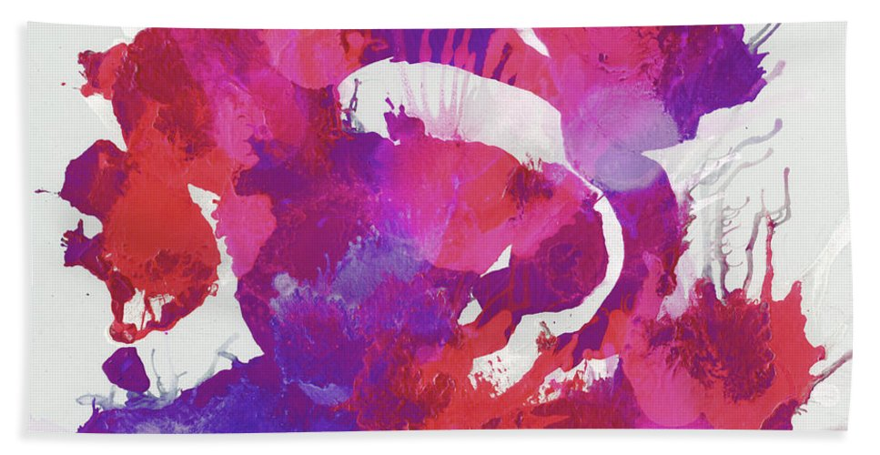 Acrylic Bath Sheet featuring the mixed media Scrambled Sunrise 2017 - Pink And Purple On White by Roses Fine Art Studio