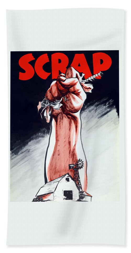 World War Ii Bath Sheet featuring the painting Scrap - Ww2 Propaganda by War Is Hell Store