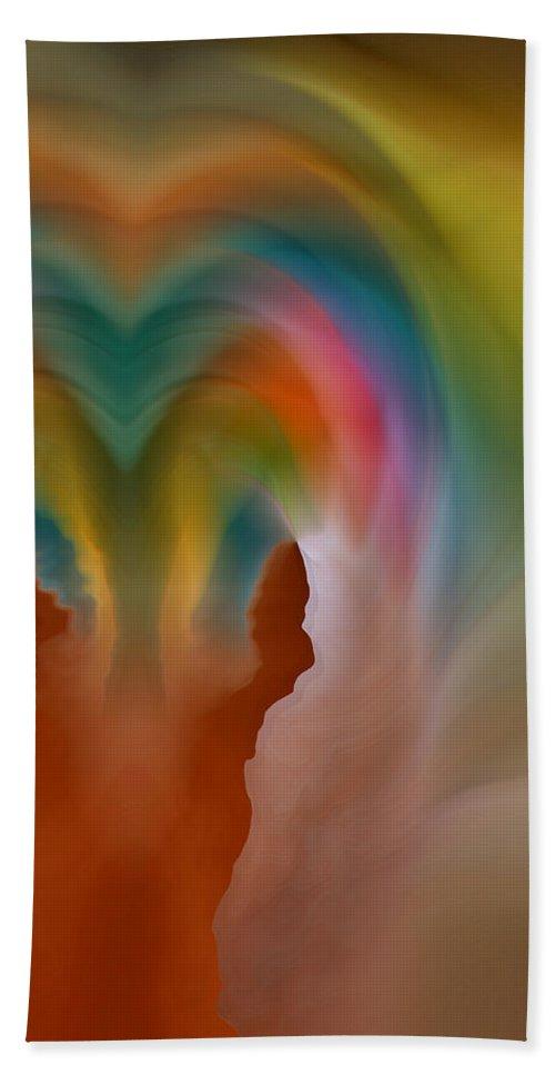 Abstract Art Bath Sheet featuring the digital art Scream by Linda Sannuti