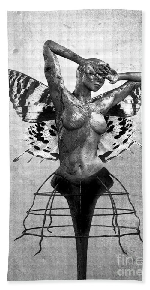 Photodream Bath Sheet featuring the digital art Scream Of A Butterfly II by Jacky Gerritsen