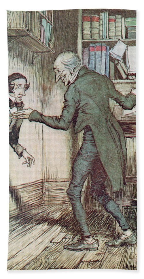 Arthur Rackham Hand Towel featuring the drawing Scrooge And Bob Cratchit by Arthur Rackham