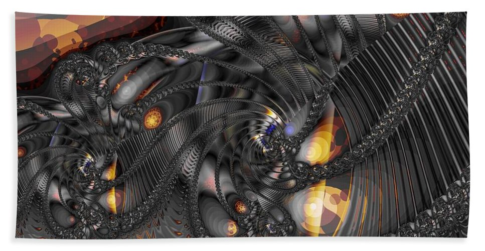 Silver Sculpture Hand Towel featuring the digital art Sculpted Silver by Ron Bissett