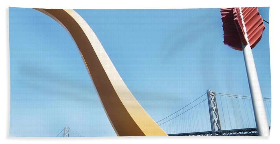 California Scenes Bath Sheet featuring the photograph Sculpture By San Francisco Bay Bridge by Norman Andrus