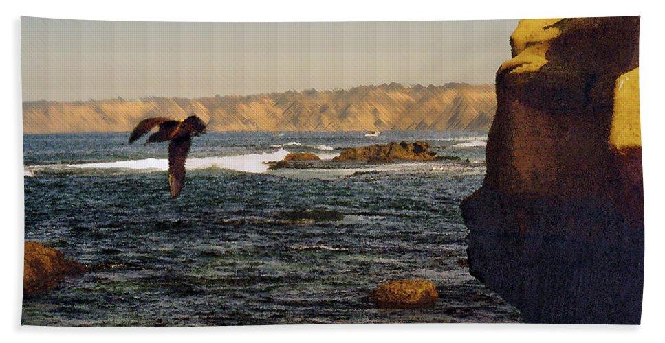 Ocean Bath Towel featuring the digital art Sea Cliff by Steve Karol
