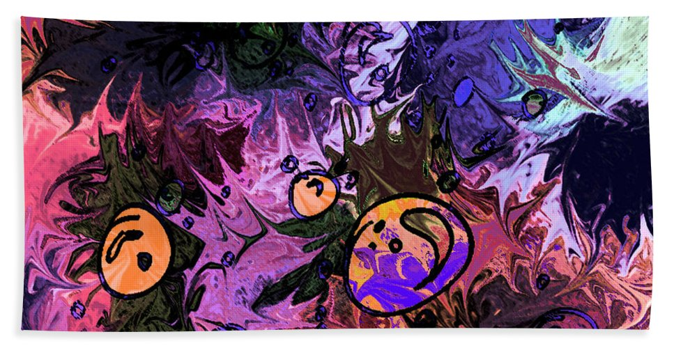 Abstract Bath Sheet featuring the digital art Sea Creatures by Rachel Christine Nowicki