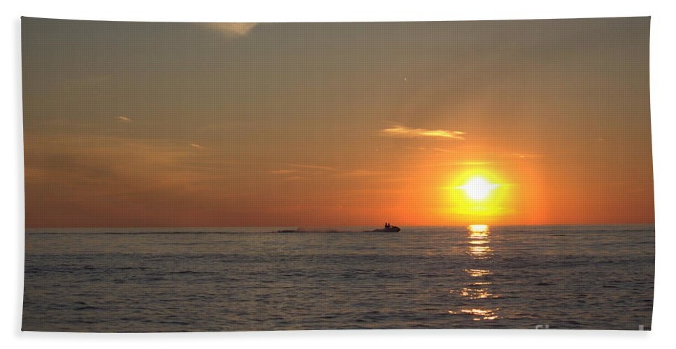Grand Bend Bath Sheet featuring the photograph Sea Doo In To The Sunset by John Scatcherd