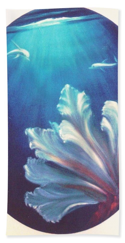 Underwater Bath Sheet featuring the painting Sea Fan by Dina Holland