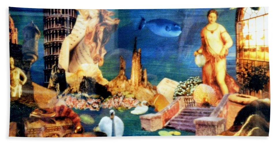 Fantasy Bath Towel featuring the painting Sea Garden by Gail Kirtz