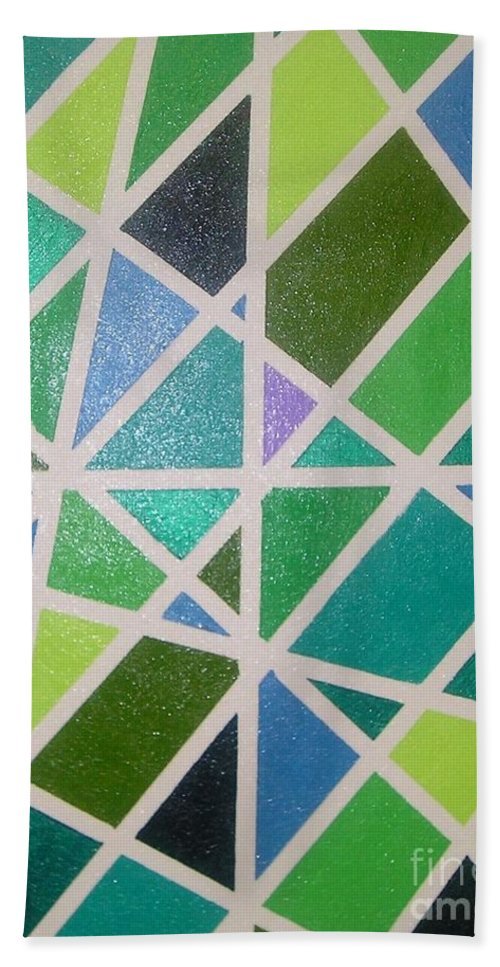 Green Hand Towel featuring the painting Sea Glass Revisited by Maria Bonnier-Perez