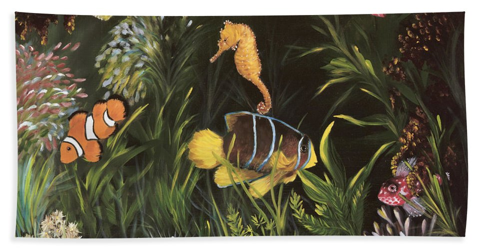 Sea Hand Towel featuring the painting Sea Harmony by Carol Sweetwood