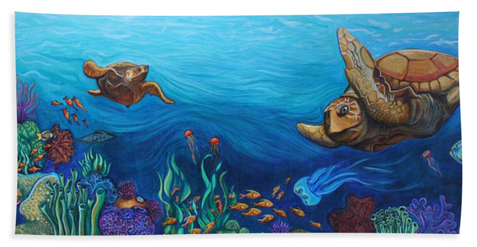 Sea Bath Sheet featuring the painting Sea Life by Kate Fortin