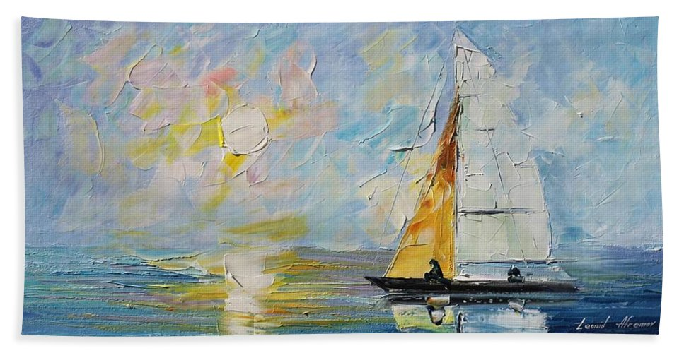 Afremov Bath Sheet featuring the painting Sea Morning New Original by Leonid Afremov