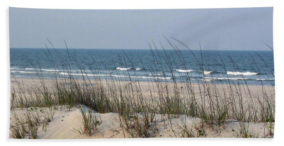 St Augustine Beach Bath Sheet featuring the photograph Sea Oats By The Ocean by D Hackett