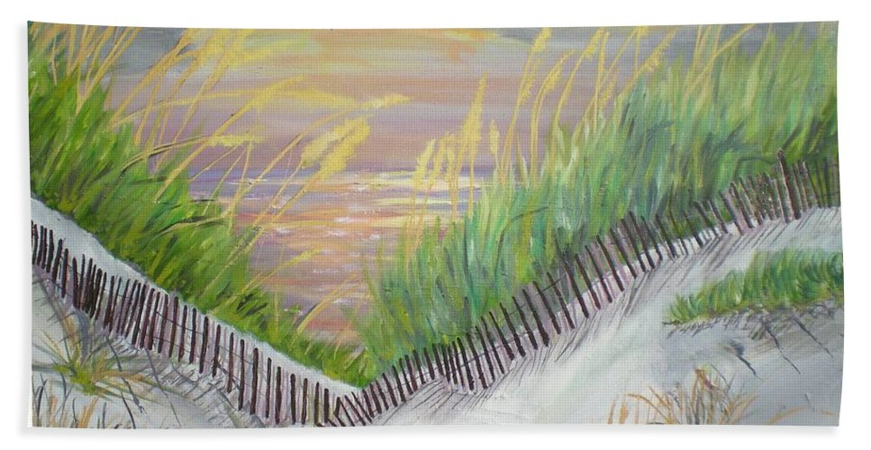 Seascape Hand Towel featuring the painting Sea Oats by Hal Newhouser