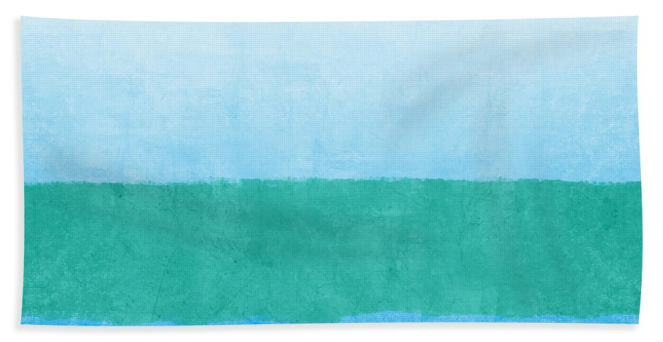 Abstract Bath Towel featuring the mixed media Sea of Blues by Linda Woods