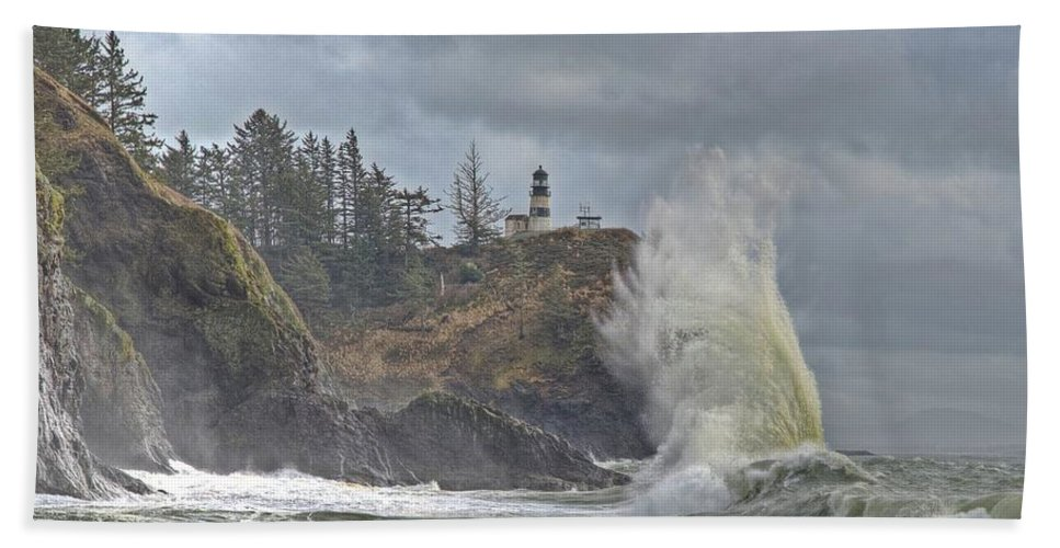 Cape Disappointment Hand Towel featuring the photograph Sea Power by Jeff Cook