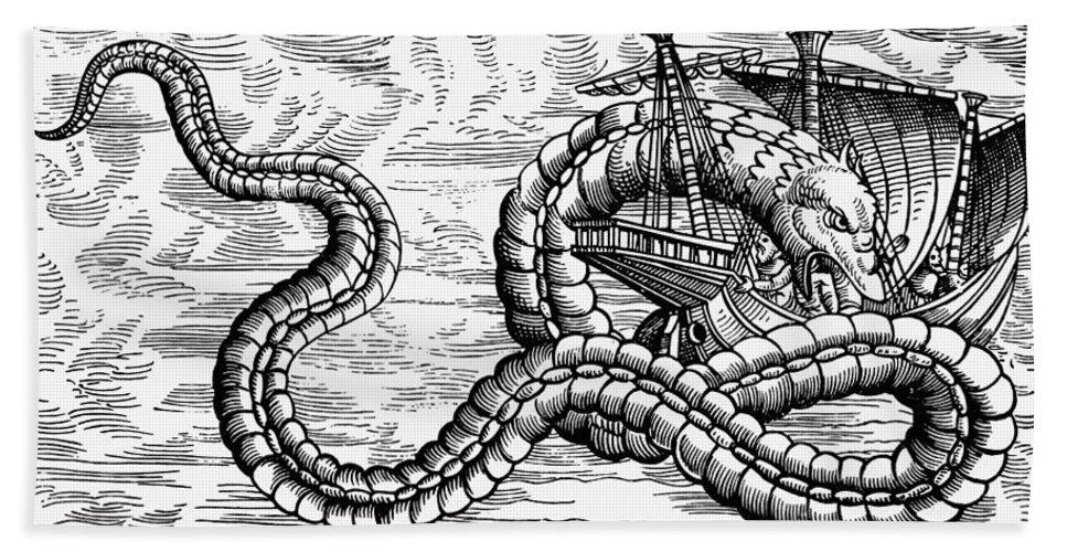 1555 Bath Sheet featuring the photograph Sea Serpent, 1555 by Granger