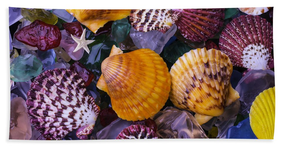 Colorfull Hand Towel featuring the photograph Sea Shells And Sea Glass by Garry Gay