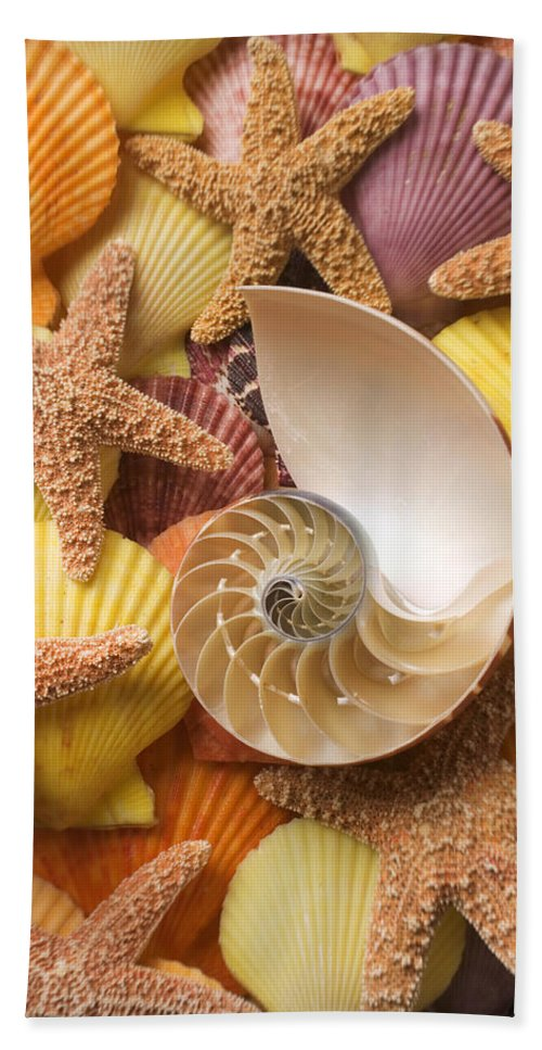 Starfish Bath Sheet featuring the photograph Sea Shells And Starfish by Garry Gay