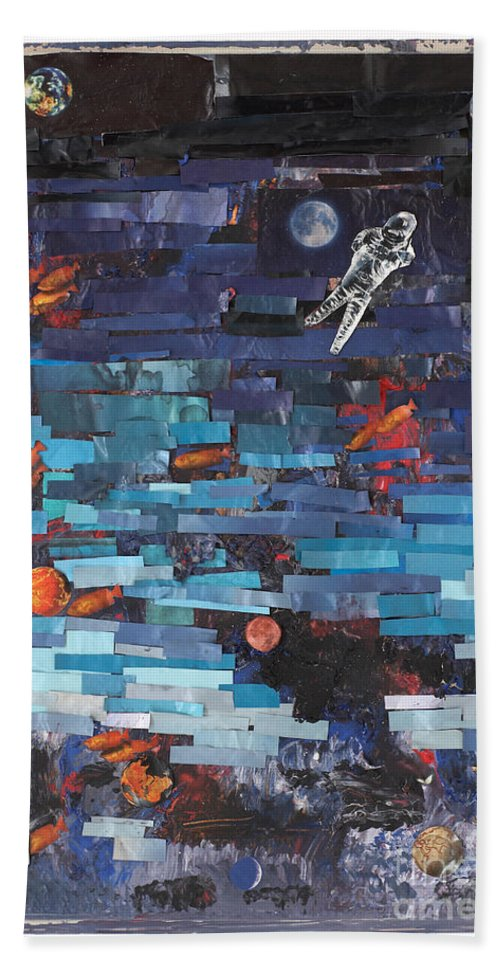 Astronaut Bath Sheet featuring the mixed media Sea Space by Jaime Becker