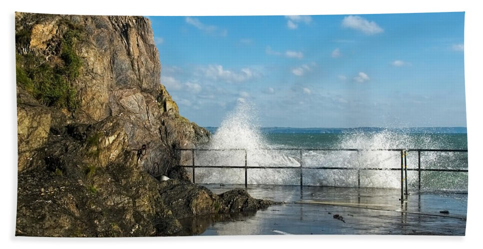 Mevagissey Hand Towel featuring the photograph Sea Spray At Mevagissey Harbour by Susie Peek