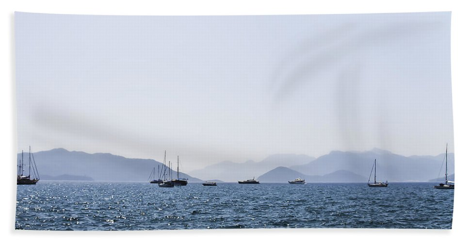 Boat Hand Towel featuring the photograph Sea Stroll by Svetlana Sewell