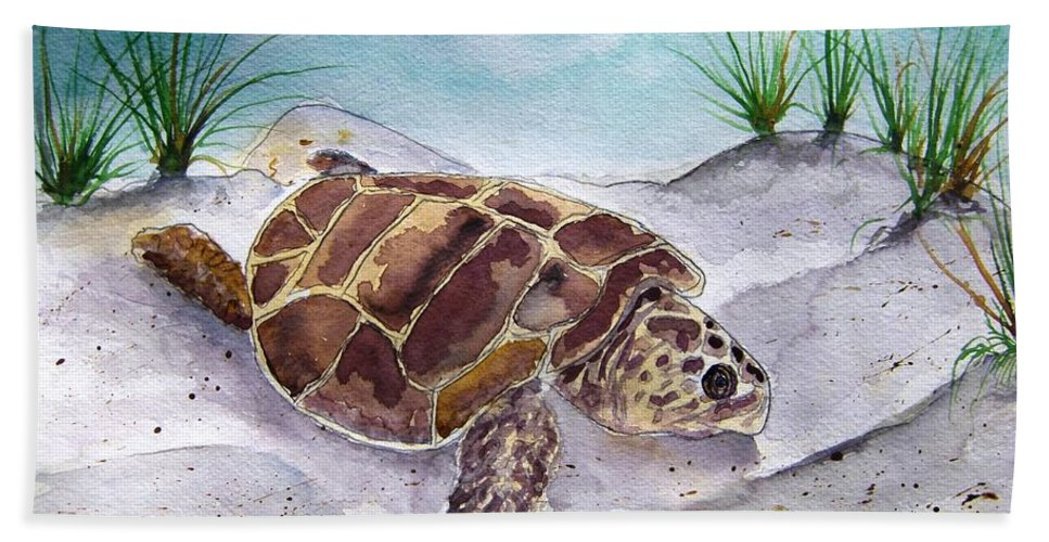 Sea Turtle Hand Towel featuring the painting Sea Turtle 2 by Derek Mccrea