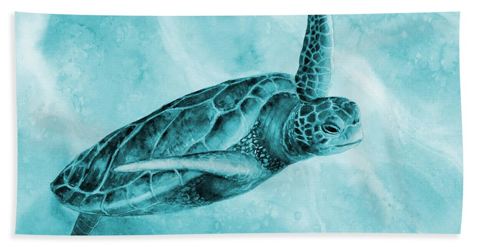 Mono Hand Towel featuring the painting Sea Turtle 2 On Blue by Hailey E Herrera