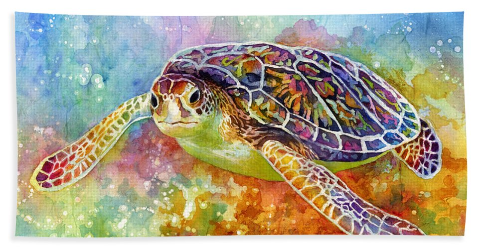 Turtle Hand Towel featuring the painting Sea Turtle 3 by Hailey E Herrera