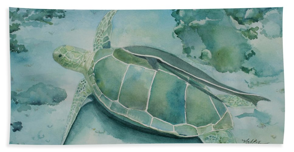 Turtle Hand Towel featuring the painting Sea Turtle And Friend by Mary Benke