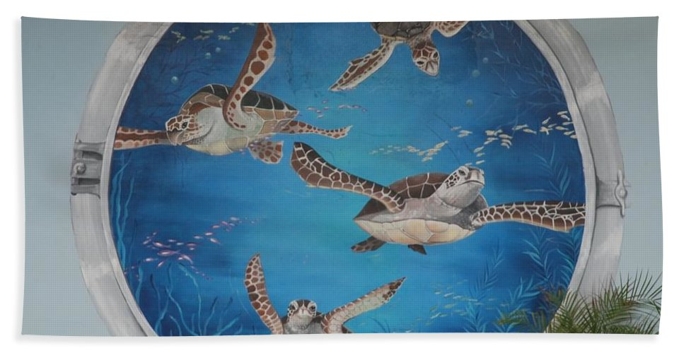 Sea Turtles Bath Towel featuring the photograph Sea Turtles by Rob Hans