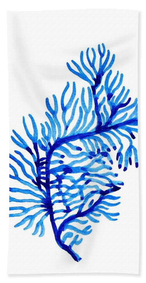 Blue Color Art Hand Towel featuring the painting Sea Weed by Sweeping Girl