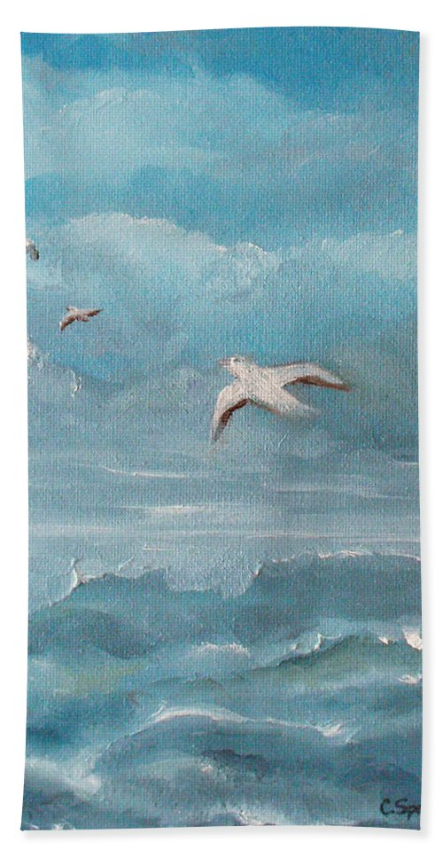Seascape Hand Towel featuring the painting Seabirds by Catherine Sprague