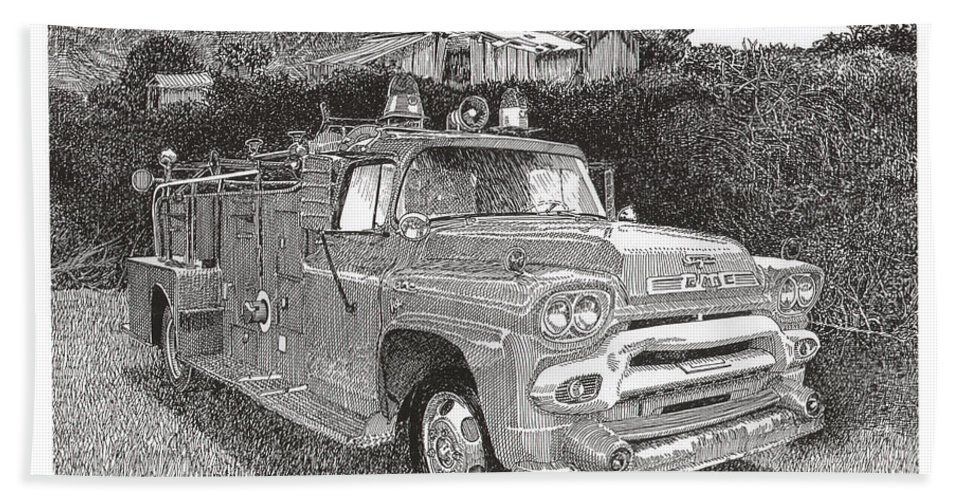 Images Of Seagrave Gmc Firetrucks. Automotive Prints Bath Sheet featuring the drawing Seagrave Gmc Firetruck by Jack Pumphrey