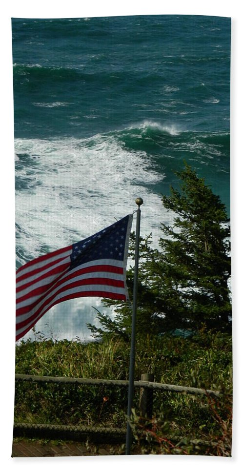 Oregon Bath Sheet featuring the photograph Seagull And Flag by Gallery Of Hope