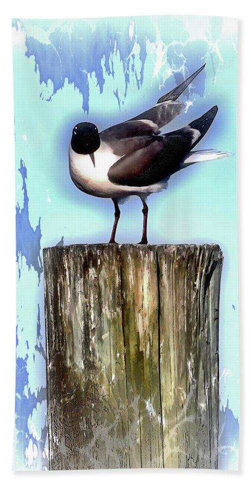 Seagull Bath Sheet featuring the photograph Seagull - Laughing Gull Pop Art by HH Photography of Florida