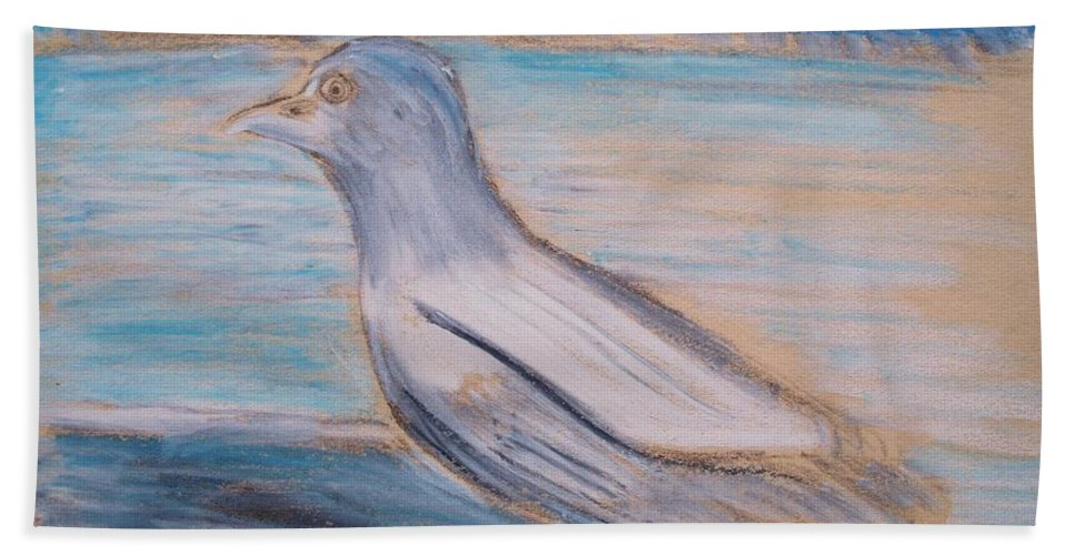 Seagull Hand Towel featuring the painting Seagull On Seashore by Eric Schiabor