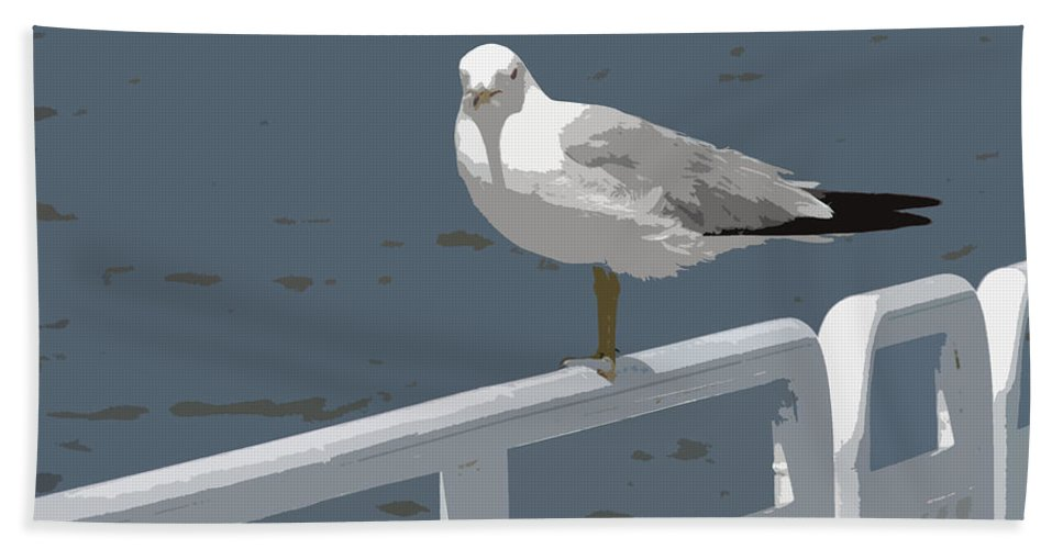 Seagull Bath Sheet featuring the photograph Seagull On The Rail by Michelle Calkins