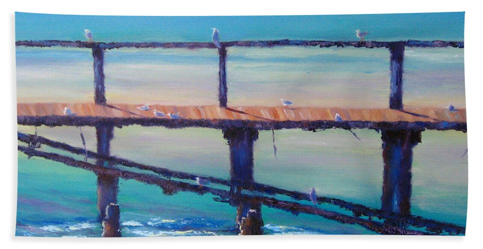 Seagulls Bath Sheet featuring the painting Seagull Paradise At Merimbula Australia by Diane Quee