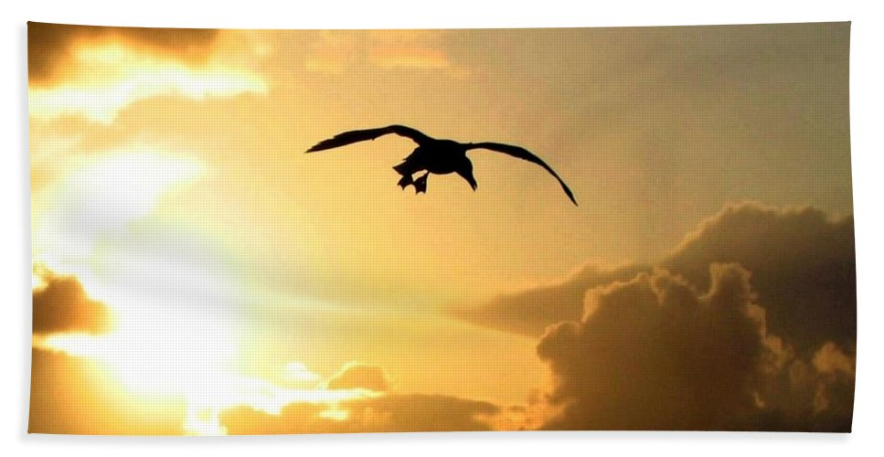 Seagull Hand Towel featuring the photograph Seagull Silhouette by Will Borden