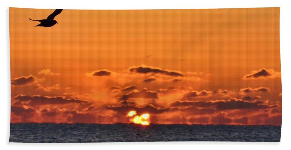 Belmar Bath Sheet featuring the photograph Seagull Sunrise by Bob Cuthbert