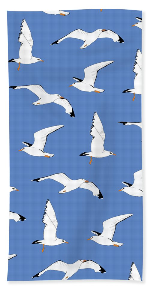 Seagulls Hand Towel featuring the digital art Seagulls Gathering at the Cricket by Elizabeth Tuck