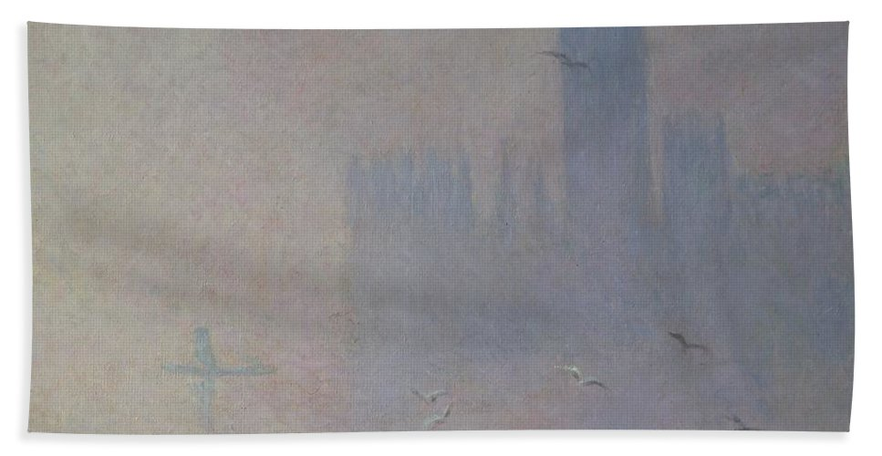 Claude Hand Towel featuring the painting Seagulls Over The Houses Of Parliament by Claude Monet