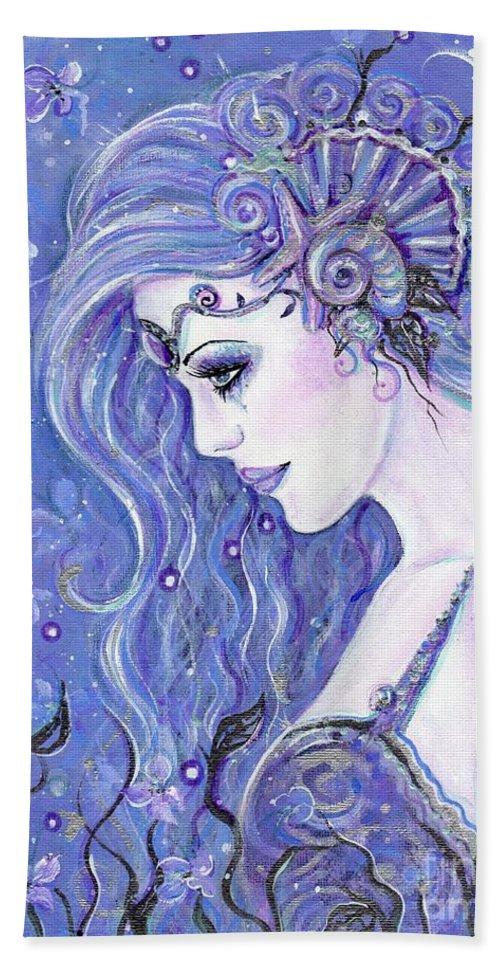 Mermaid Hand Towel featuring the painting Seahorse Dreams Mermaid by Renee Lavoie