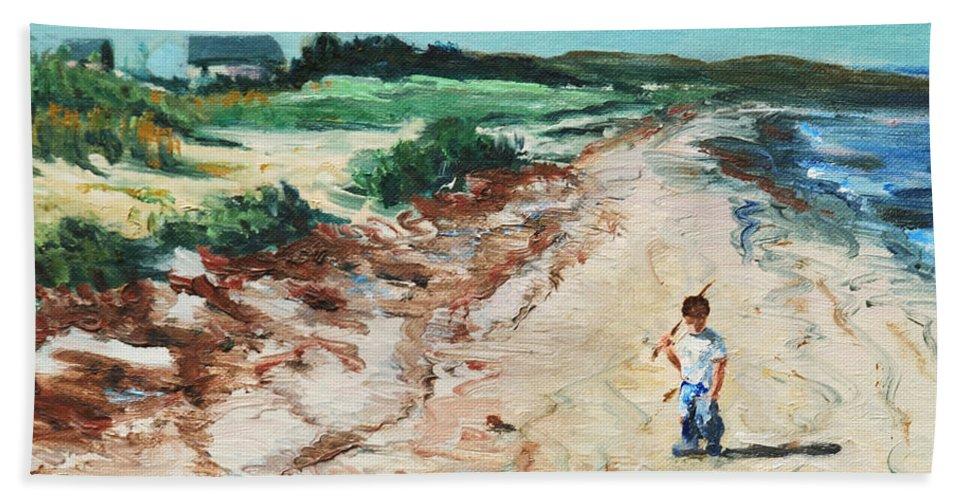 Beach Bath Sheet featuring the painting Sean by Rick Nederlof
