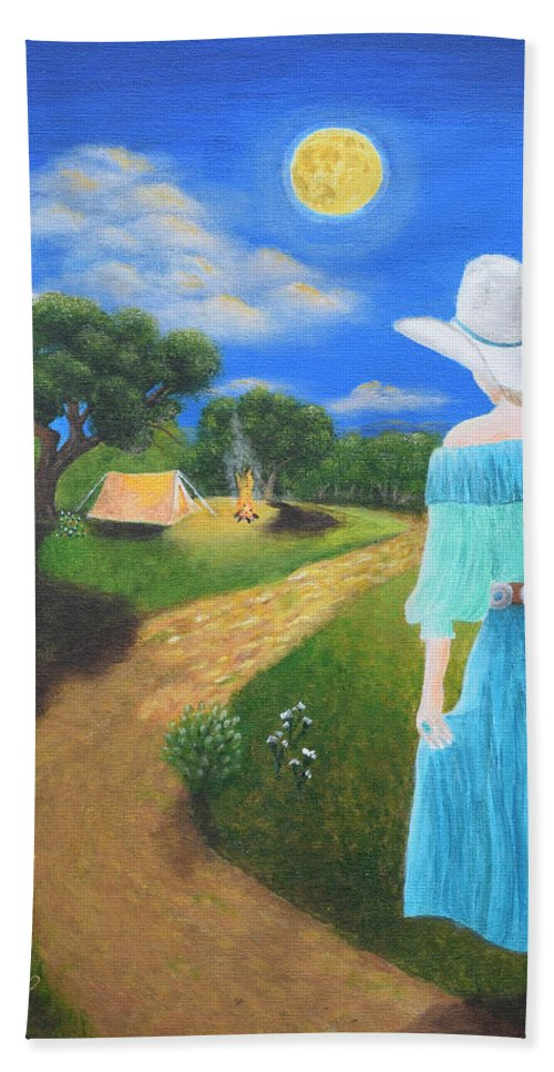 Cowgirl Hand Towel featuring the painting Searching For Her Elusive Cowboy by Belinda Nagy