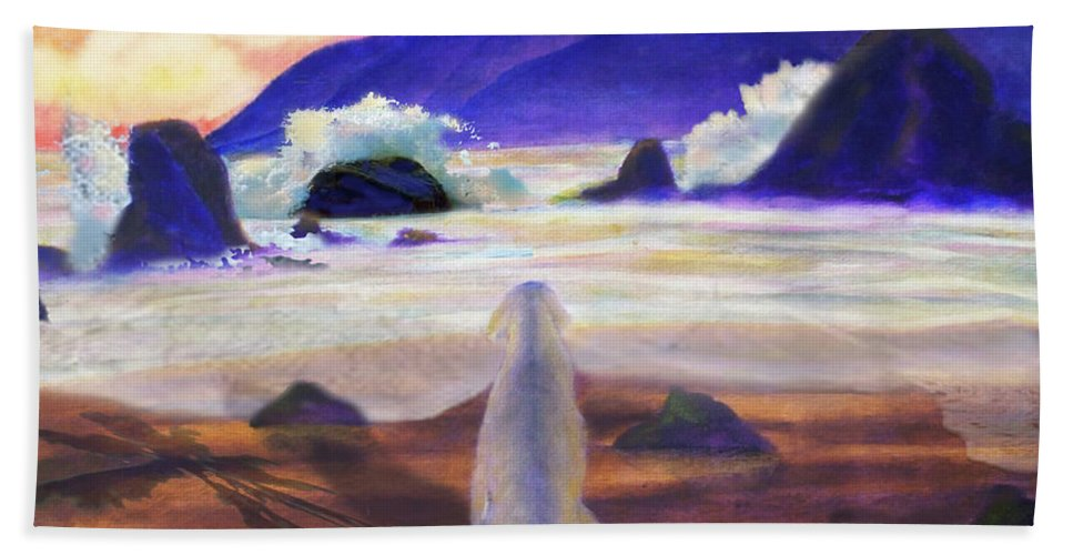 Dog Bath Sheet featuring the painting Sea Dog by Larry Rice