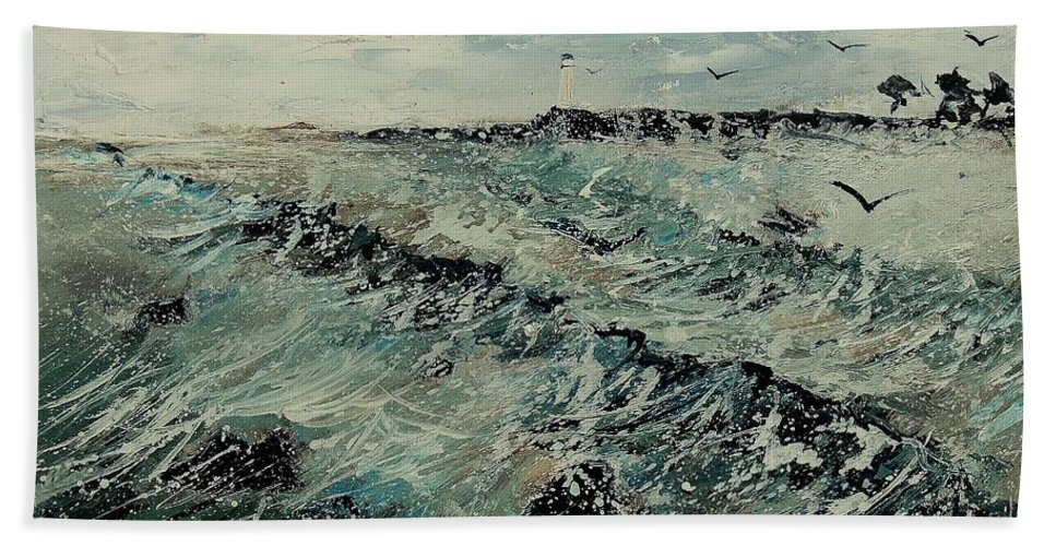 Sea Hand Towel featuring the painting Seascape 459090 by Pol Ledent