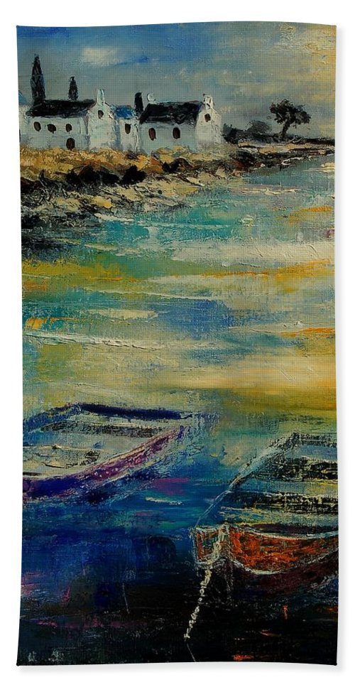 Sea Bath Towel featuring the painting Seascape 5614569 by Pol Ledent