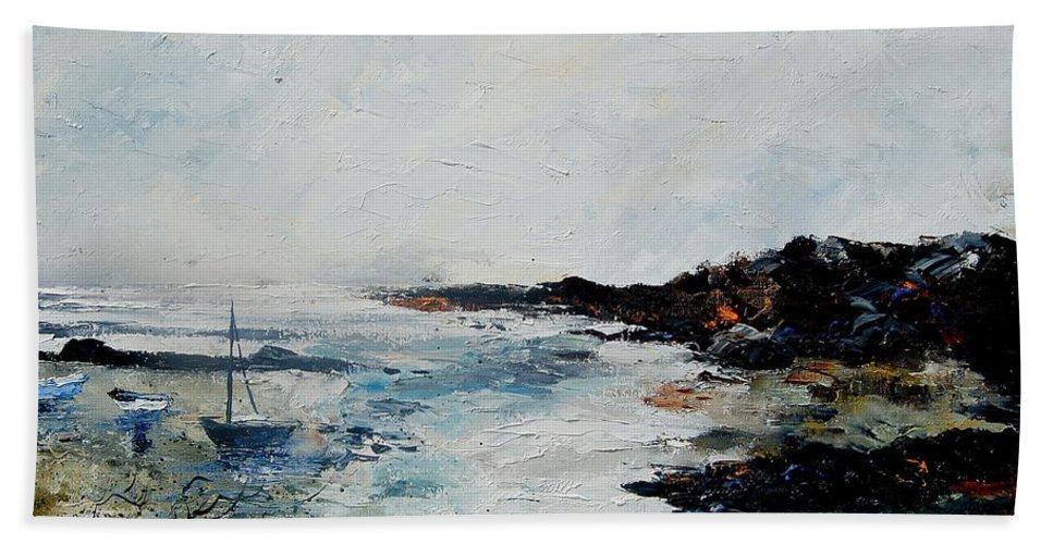Sea Bath Towel featuring the painting Seascape 68 by Pol Ledent